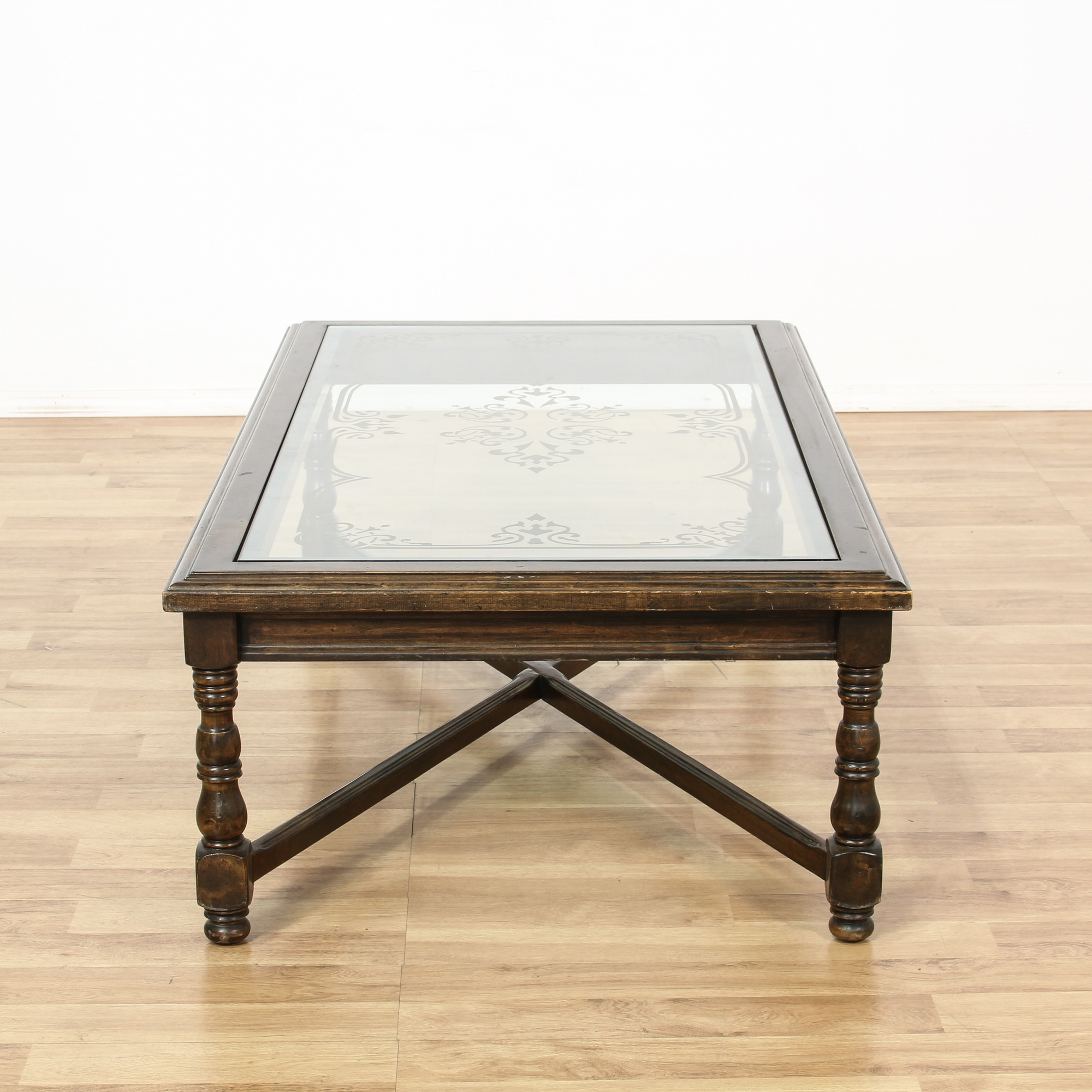large walnut glass floral etched coffee table loveseat vintage furniture san diego los angeles. Black Bedroom Furniture Sets. Home Design Ideas