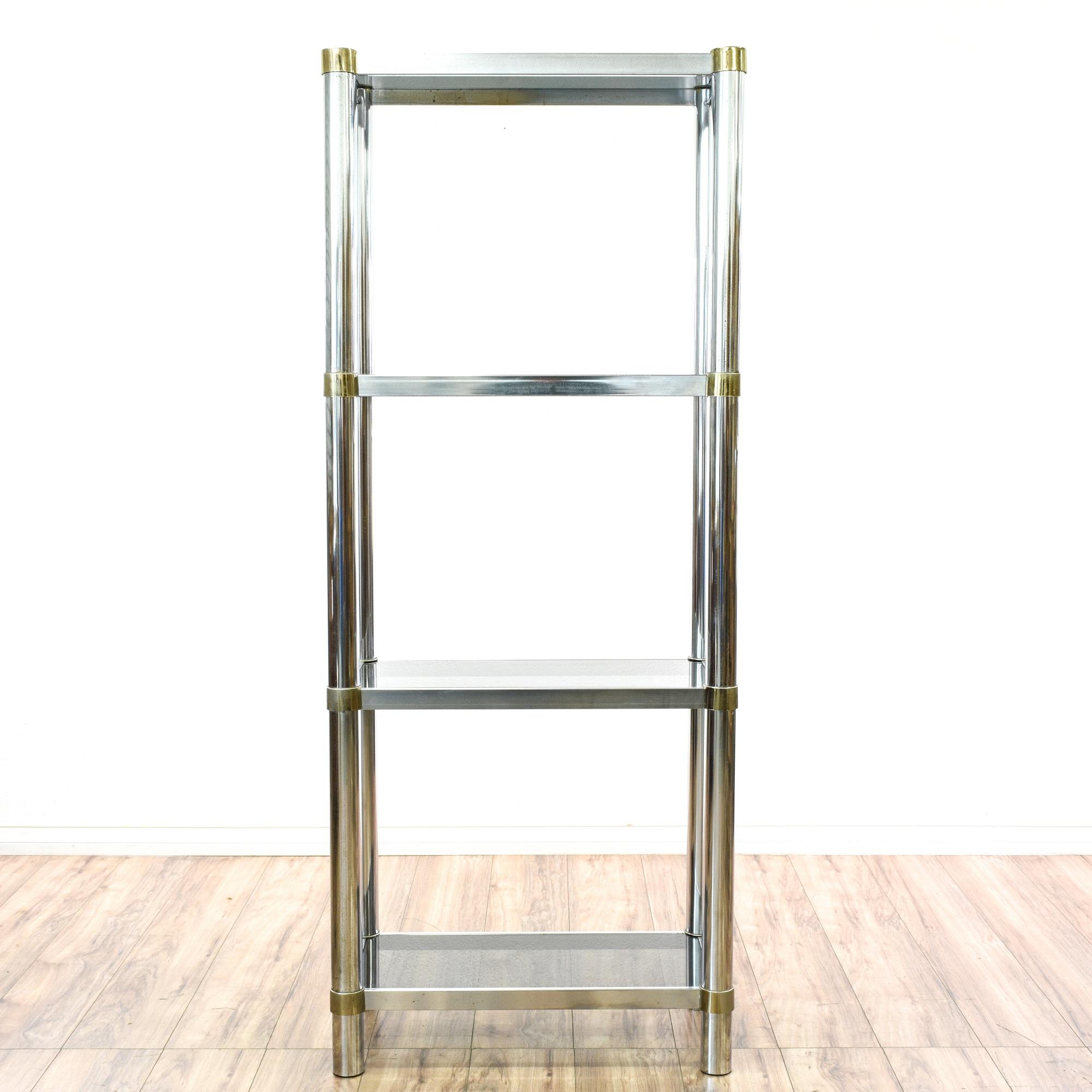 modern regency chrome glass etagere shelf loveseat. Black Bedroom Furniture Sets. Home Design Ideas