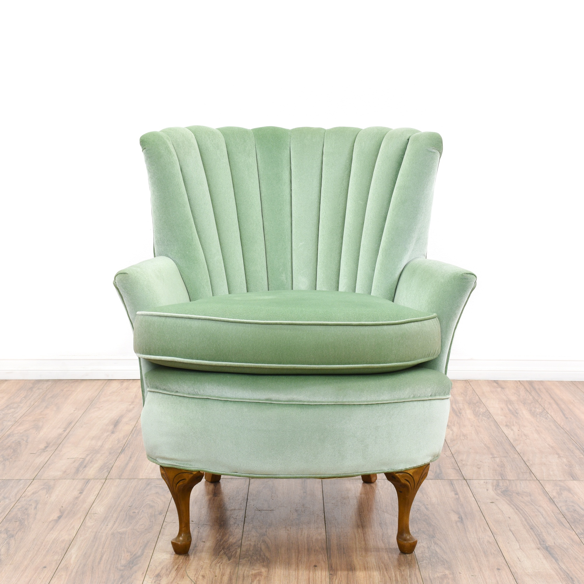 Regency Mint Green Velvet Channel Back Armchair