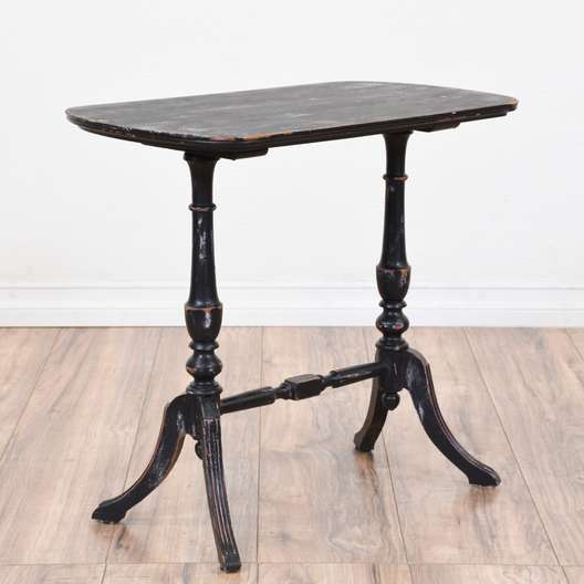 Black Shabby Chic Trestle End Table