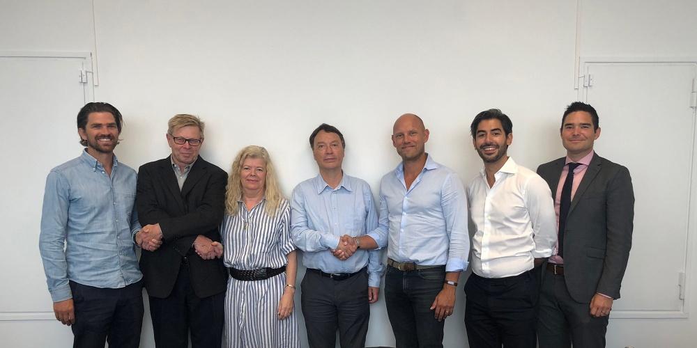 EMG:s grundare och Ingvar Dyrseth, Eva Axelsson Engström, Stefan Engström samt Parham Benisi