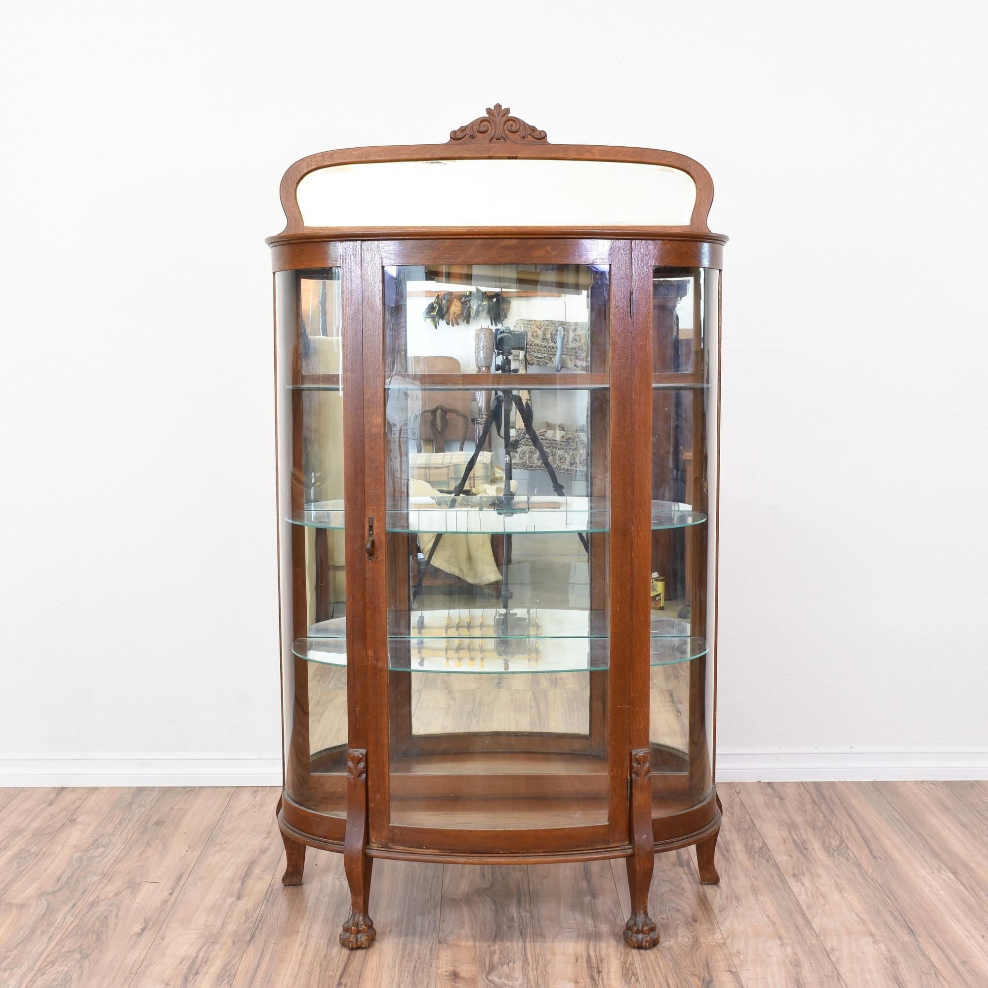 antique curved glass front curio cabinet loveseat vintage cu
