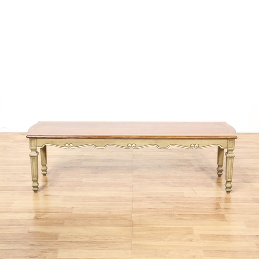 French Provincial Coffee Table Set: French Provincial Cream Wood Top Coffee Table