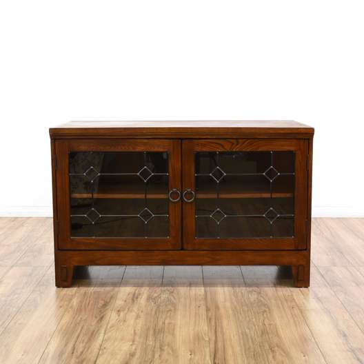 Mission Style Glass Front Media Cabinet