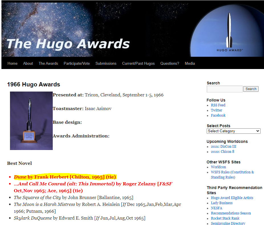 Screenshot of the Hugo Awards 1966 awards archive.