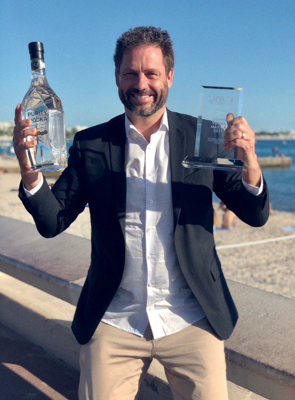"Chief Spirit Officer Mathias Tönnesson with the Vodka Masters of the world Trophy awarded at ""The Spirits Magazine awards"" in Cannes 2019"