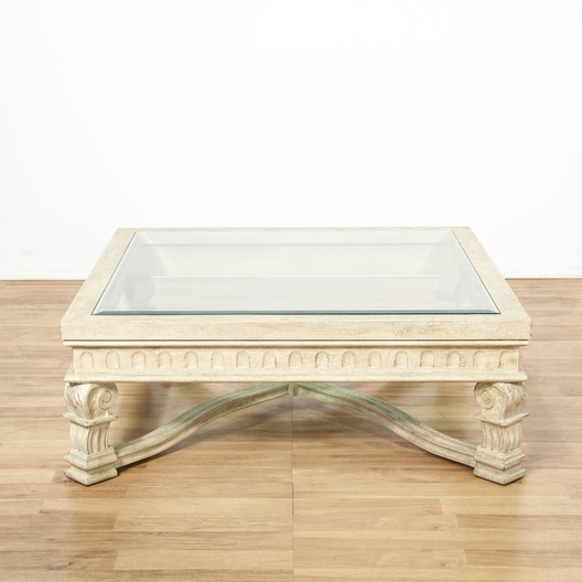 Large White Carved Glass Top Coffee Table 2 Loveseat Online Auctions Los Angeles
