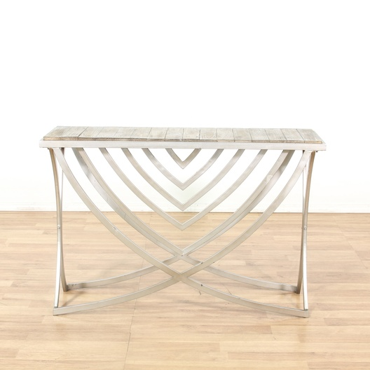 Modern metal base reclaimed wood top console table for Salvaged wood los angeles